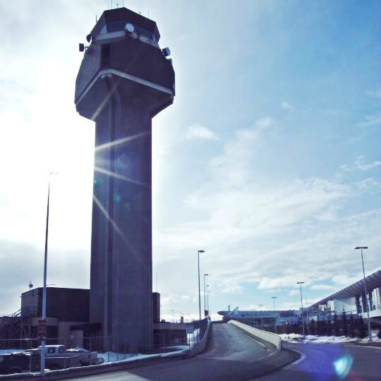 Anchorage Airport tower in the sun